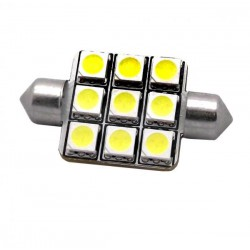 ZesfOr® Bombilla LED Festoon 39 mm, 9 SMD Extra Power- TIPO 7