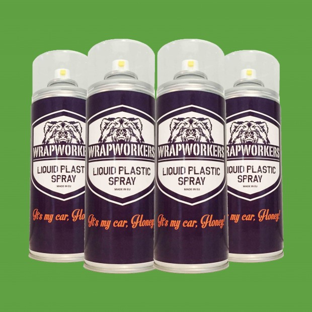 Vernice gomma: 4 spray VERDE OPACO