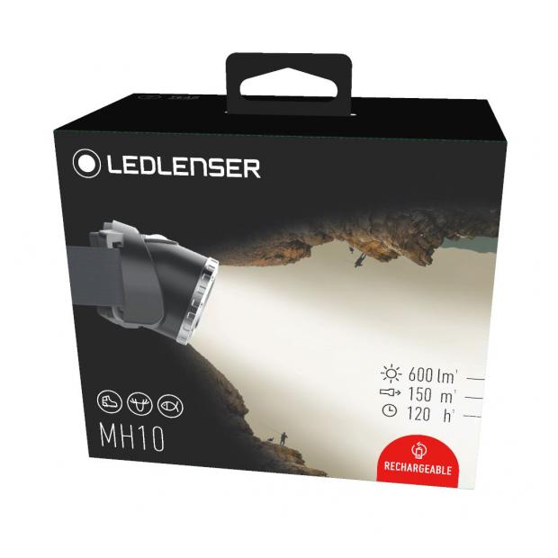 Linterna Frontal Led Lenser MH10, 600 Lúmenes y Recargable