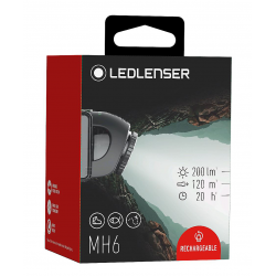 Head torch Led Lenser MH6, 200 Lumens and Rechargeable