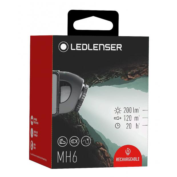 Stirnlampe Led Lenser MH6, 200 Lumen, Wiederaufladbar