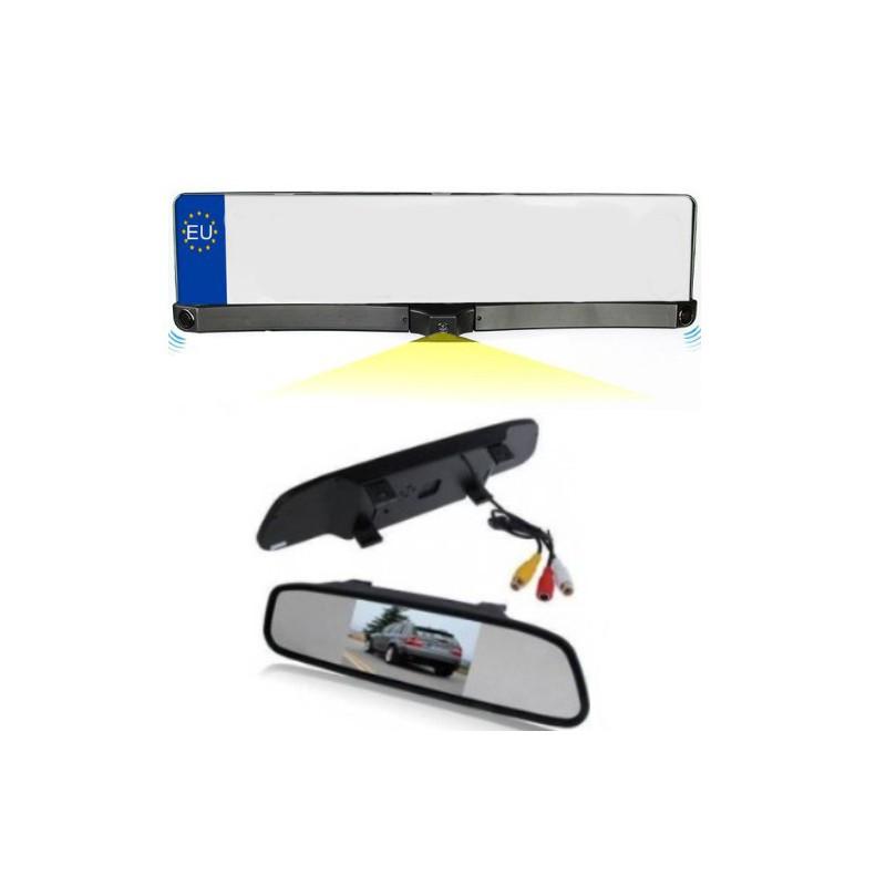kit portamatrículas con sensores aparcamiento, cámara y pantalla retrovisor