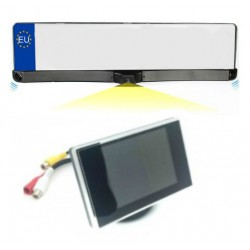 Kit plate holder with sensors parking, camera and rearview screen