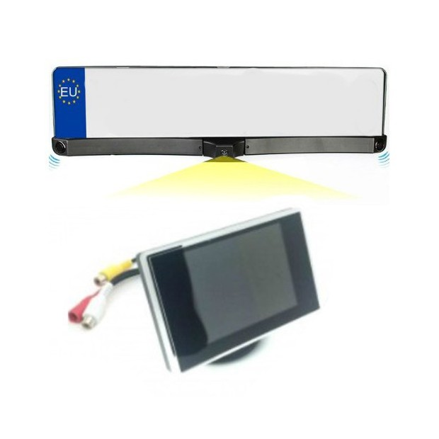 Suporte da placa kit com sensores de estacionamento, tela de câmera e retrovisor