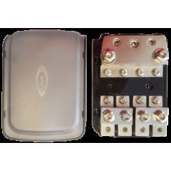 Repartidor con portafusibles AFC o ANL, 1 entrada 50 mm y 2 entradas 35 mm, 4 salidas de 21 mm