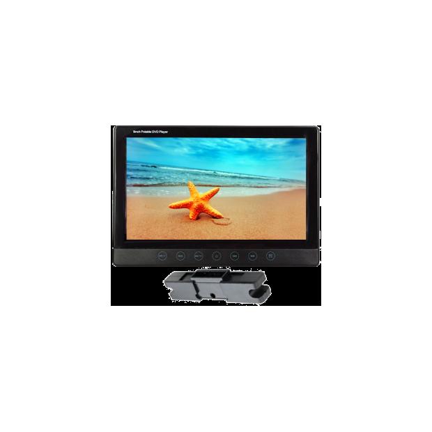 Monitor (9 pollici) con staffa di montaggio, poggiatesta con DVD/USB/SD card, con la tastiera touch