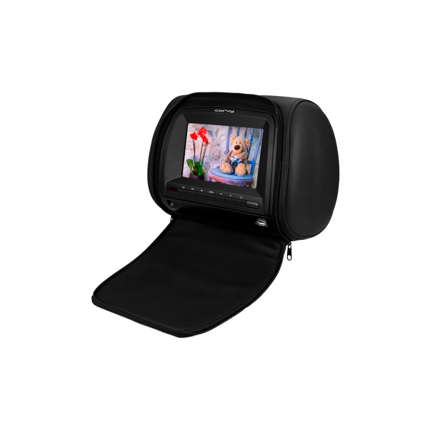 Monitor de cabezal 7 pulgadas con DVD, USB/SD, con funda protectora con cremallera