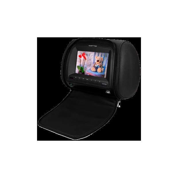 Monitor testa da 7 pollici con DVD, USB/SD, con guaina di protezione con cerniera