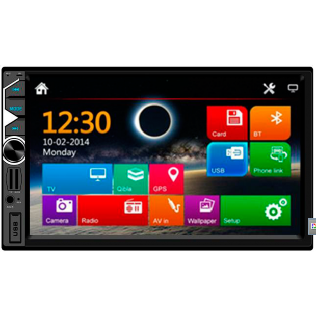 """Radio Double Din with 7"""" touch screen, USB, SD card, Bluetooth and input back-up camera. The most sold"""