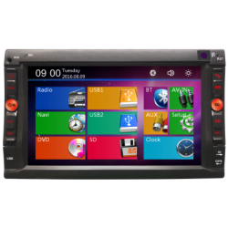 Radio Navigatore doppio din con touch screen capacitivo di 6.2, GPS, memoria 4 GB, Bluetooth