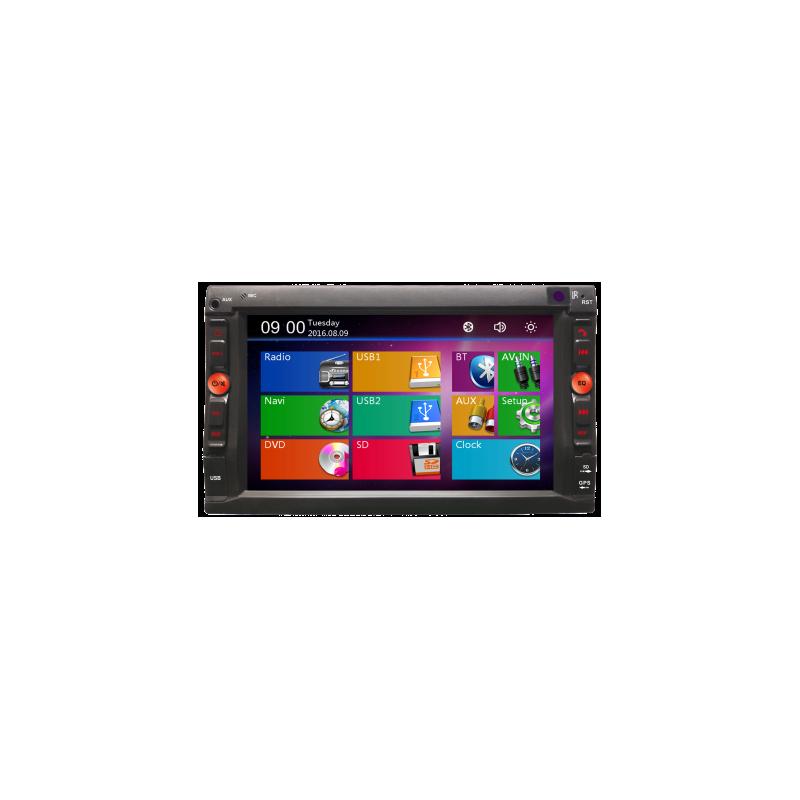 Rádio Navegador duplo din com tela sensível ao toque capacitiva de 6,2, GPS, memória de 4 GB, Bluetooth