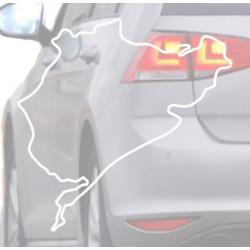 Autocollant pour voiture de Nurburing blanc