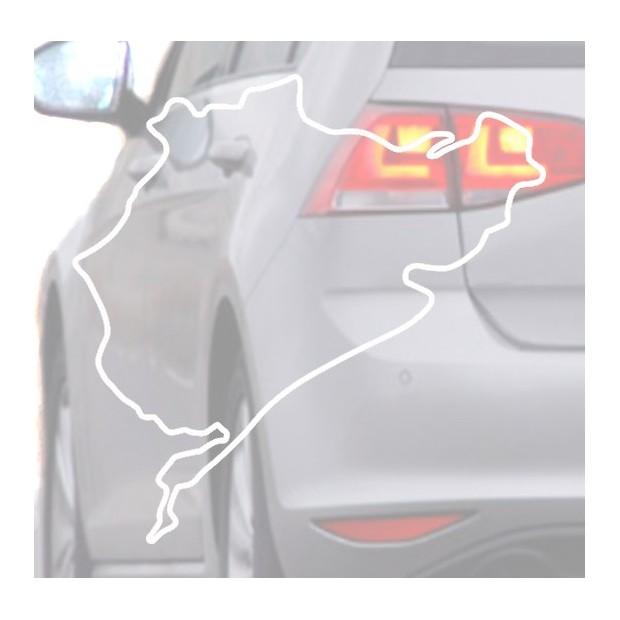 Aufkleber für auto Nurburing weiß