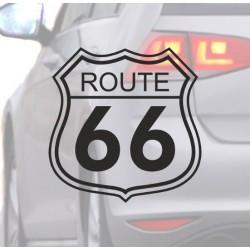 Autocollant pour voiture de la Route 66 noir