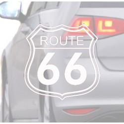 Pegatina para coche Ruta 66 blanca