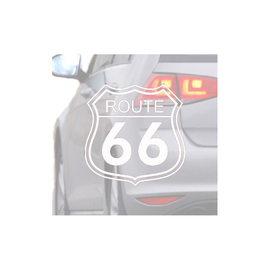 Autocollant pour voiture de la Route 66 blanc