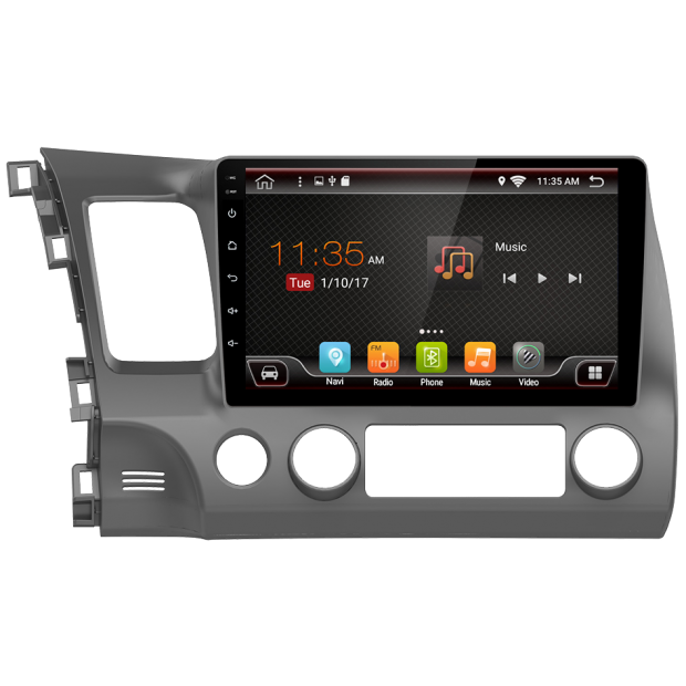 GPS navigation touchscreen for Honda Civic (2006-2012), Android 10,1""