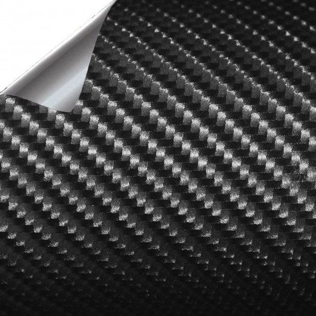 Vinyl Fiber-Carbon Schwarz Normale Helligkeit 1500x152cm (komplettes Auto)