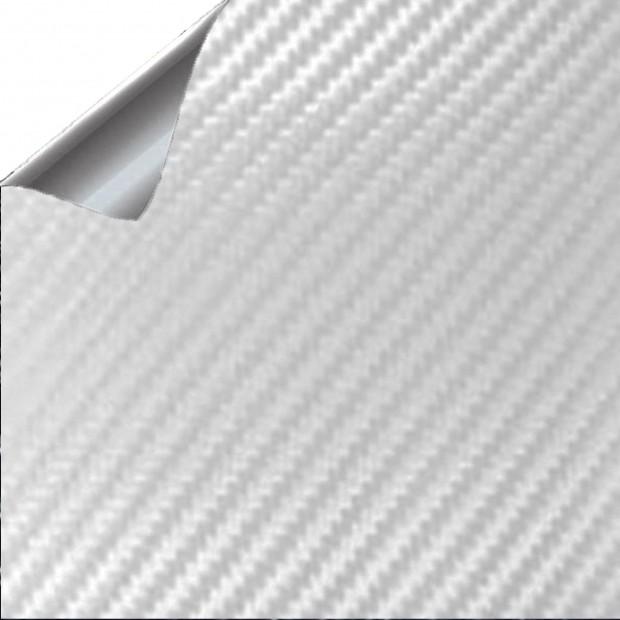 Vinyle de Fibre de Carbone Blanc 75x152cm