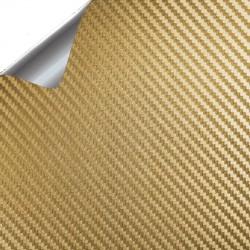 Pegatina Vinilo carbono fibra Oro - 100x152cm