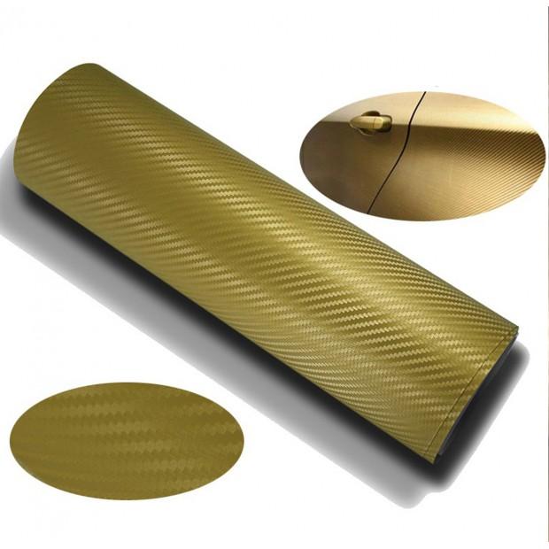 Vinil adesivo de Carbono Ouro - 75x152cm