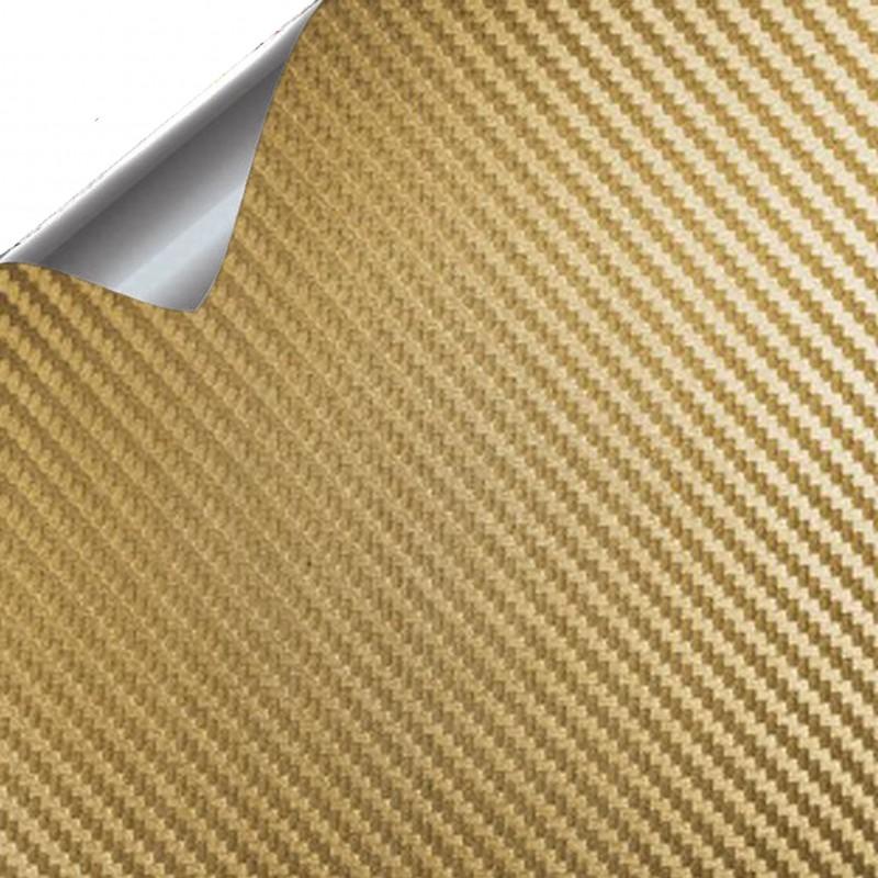 Vinyle de Fibre de Carbone de l'Or - 25x152cm