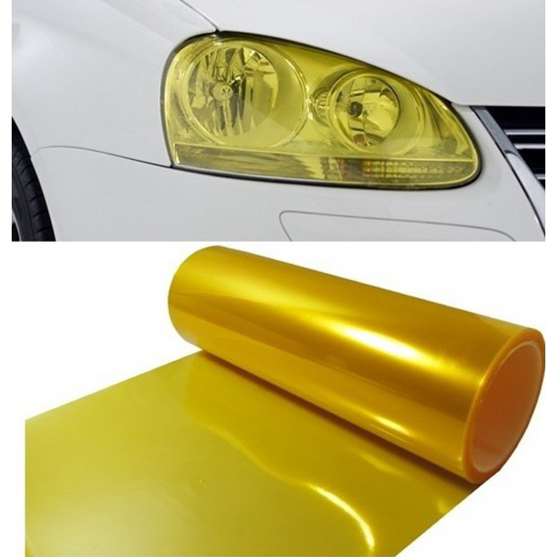 Vinyl headlights and pilots yellow retro effect 50x30cm
