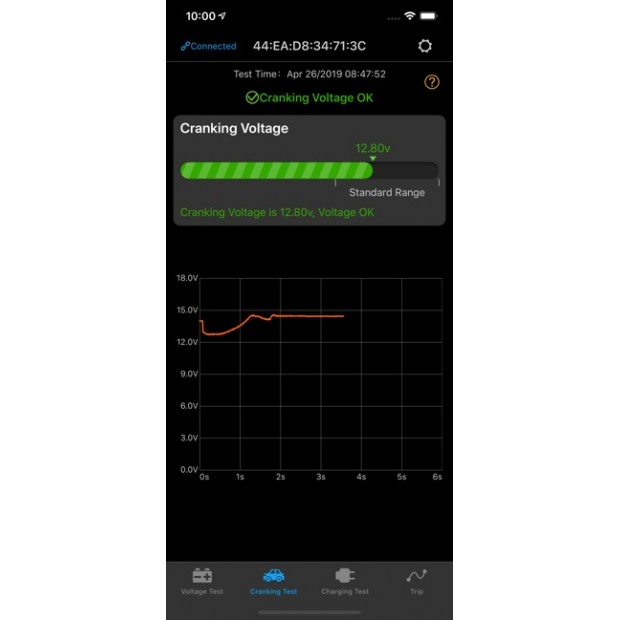 Testador de baterias usando o App móvel