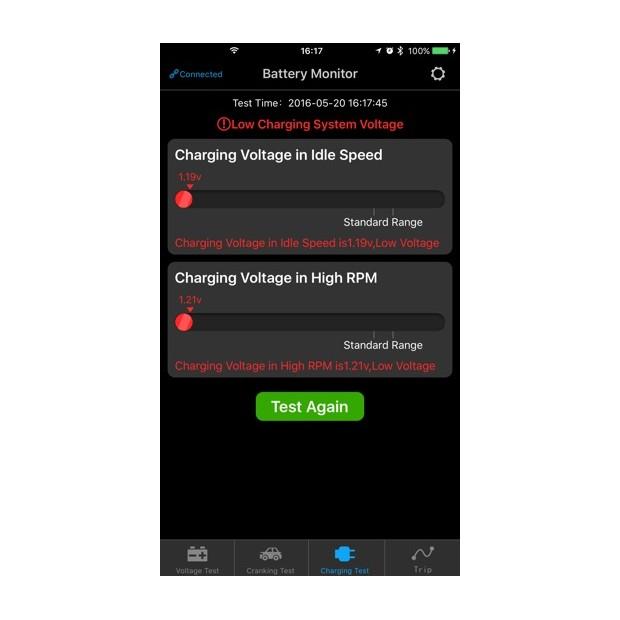 Tester für Batterien mit einer mobilen App