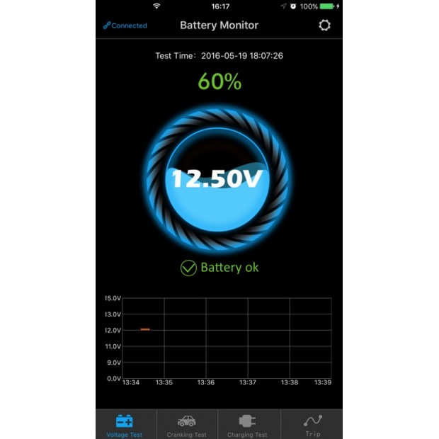 Tester of batteries by using a mobile App