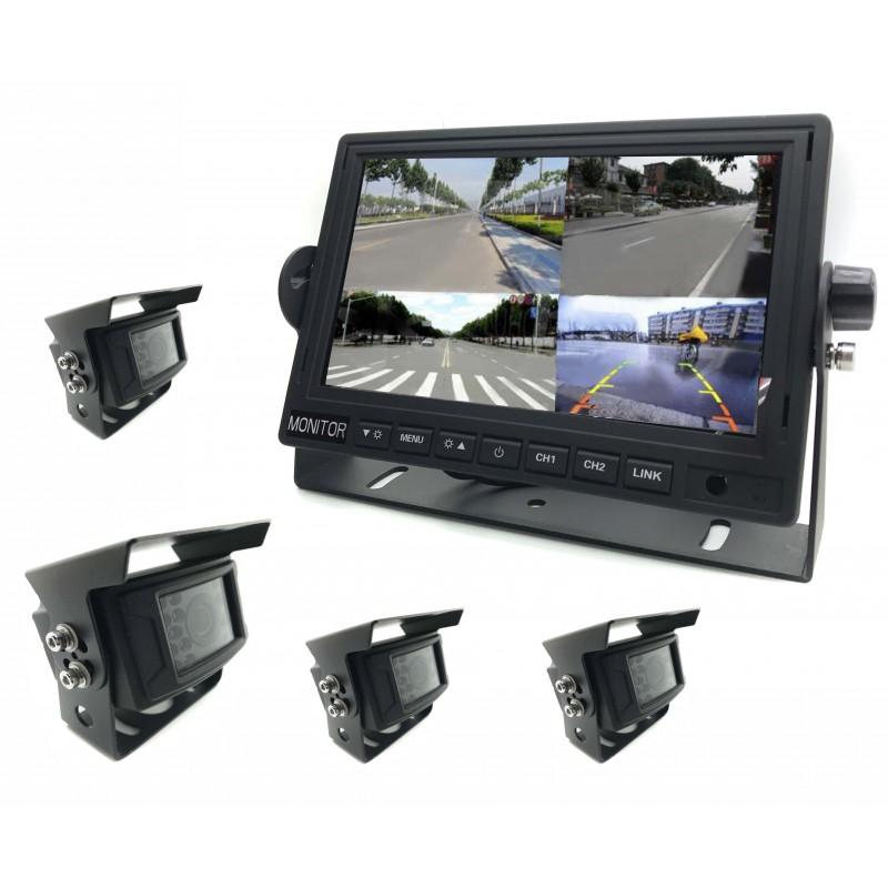 kit 4 cameras de surveillance wifi screen 7 360 view car t. Black Bedroom Furniture Sets. Home Design Ideas